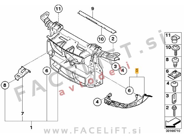 BMW 1 / E81 E82 E87 (04-12) / nosilec žarometa / desni