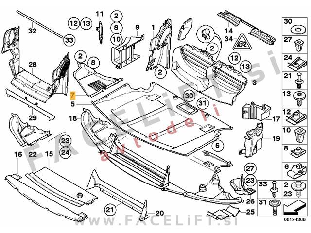 BMW 5 / E60 E61 M (03-10) / zaščita motorja / desna