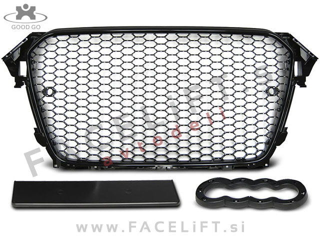 Audi A4 / B8 (11-15) / maska / RS4 / črni (sijaj) okvir