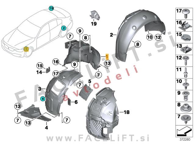 BMW 3 / F30 F31 (11-15) / sprednji kolotek / zadnji del / levi