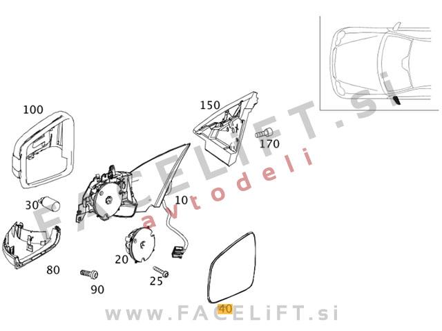 Mercedes GL / X164 (11-12) / steklo ogledala / levo