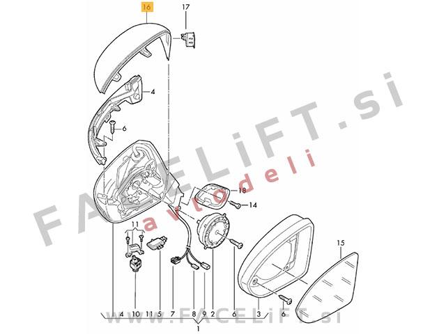 VW Arteon / (17- ) / pokrov ogledala / levi