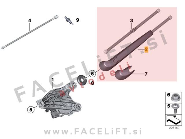 BMW X3 / F25 (10-14) / roka metlice brisalca z metlico / zadnja