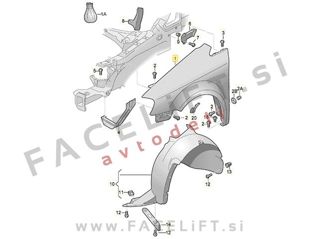 VW Touran 1T3 10-15 front fender left