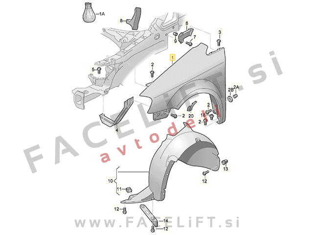 VW Touran 1T3 10-15 front fender right