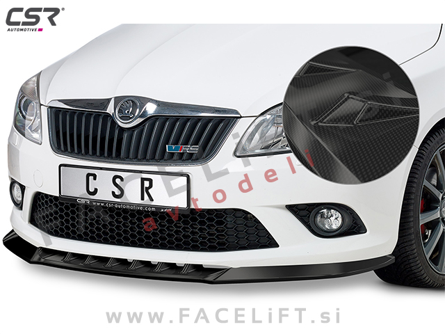 Škoda Fabia RS 5J 10-15 front bumper spoiler carbon (glossy)