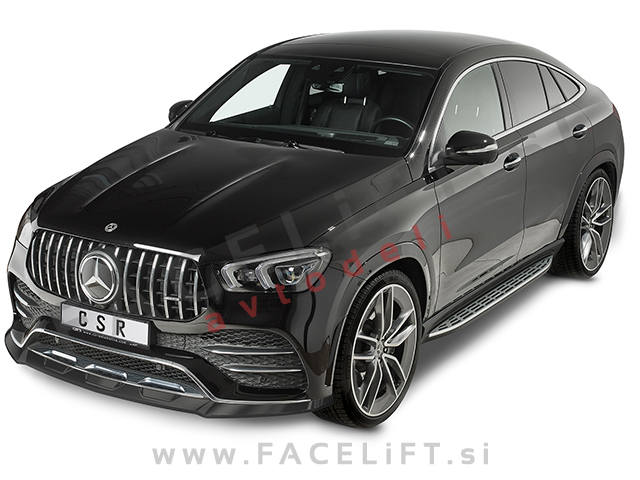 Mercedes GLE Coupe AMG-Line C167 19- front bumper spoiler black (glossy)