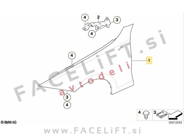 BMW 1 E81 E82 E87 E88 04-13 front fender left