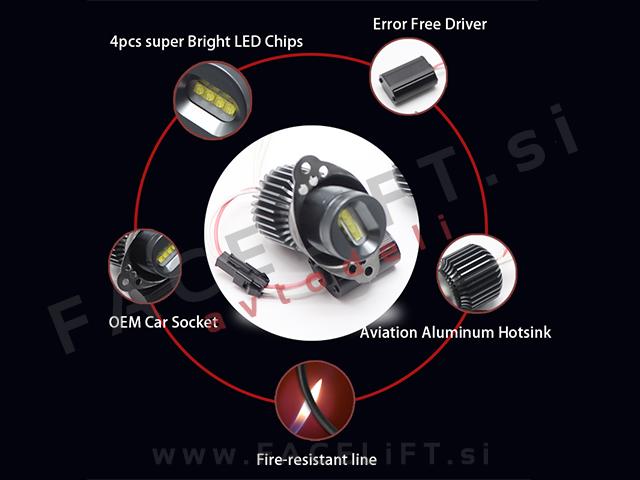 BMW 3 / E90 E91 LCI (08-12) / LED Angel Eyes markerji 20W (40W)