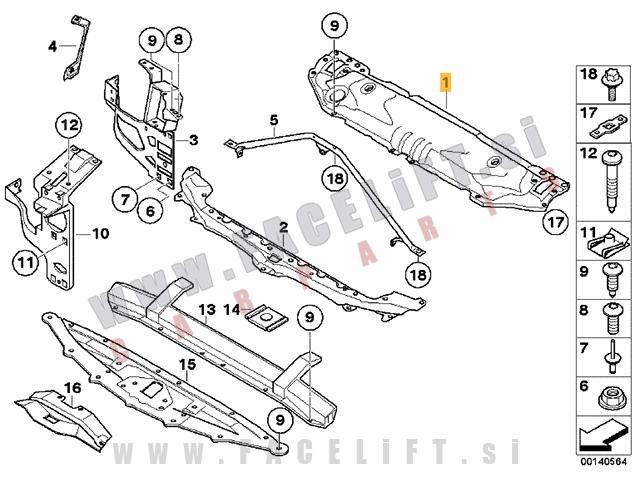 BMW 5 / E60 E61 (03-10) / vezna stena / zgornja